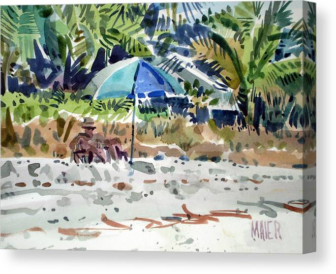 Sunbathing Canvas Print featuring the painting The Sun Bather by Donald Maier