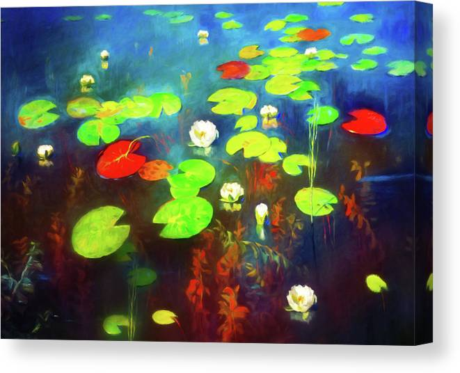 The Water Lily Pond Canvas Print featuring the mixed media The Water Lily Pond by Georgiana Romanovna