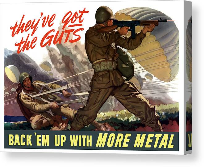 Airborne Canvas Print featuring the painting They've Got The Guts by War Is Hell Store