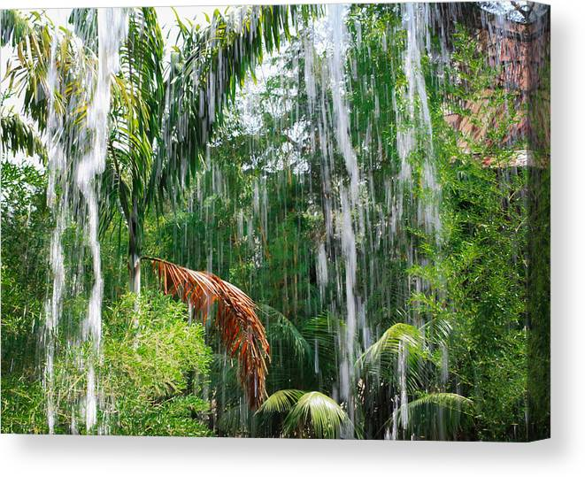 Waterfall Canvas Print featuring the photograph Through The Waterfall by Alison Frank