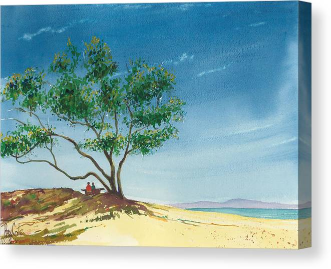 Picnic At The Beach Canvas Print featuring the painting Two At The Beach by Ray Cole