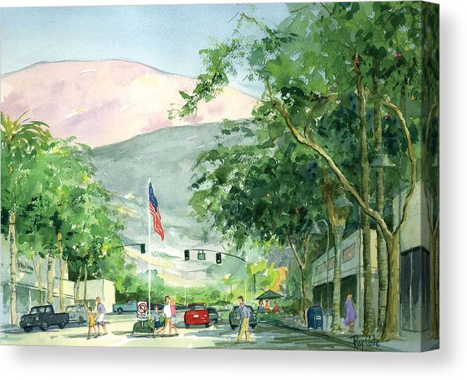 Main Street Canvas Print featuring the painting Up Linden Avenue by Ray Cole