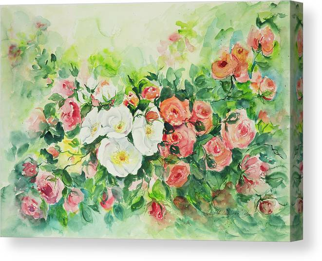 This Is An Original Floral Garden Watercolor Painting On Paper 22 X 30 Inches. Canvas Print featuring the painting Watercolor Series 4 by Ingrid Dohm