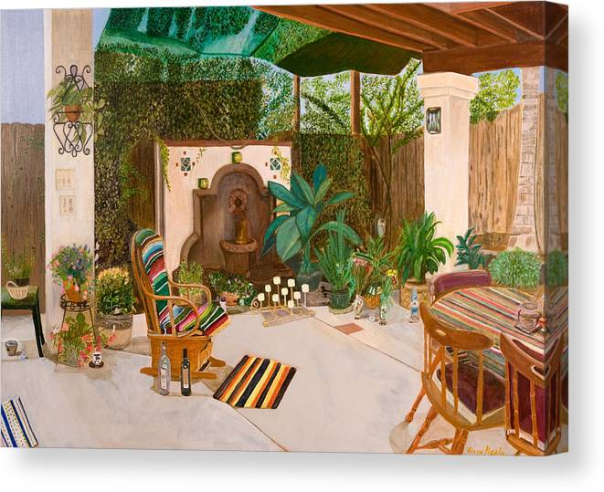 Landscape Canvas Print featuring the painting Welcome To Paradise by Arvin Nealy