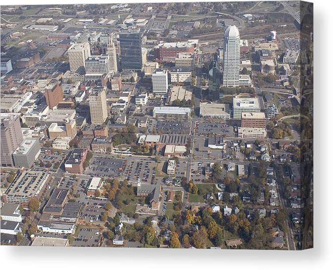 Aerial Canvas Print featuring the photograph Winston-salem Nc by Robert Ponzoni