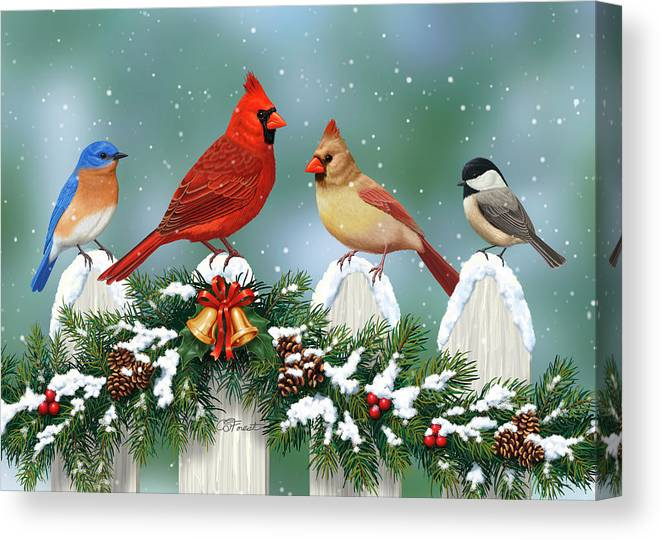 b7bd53173 Winter Birds And Christmas Garland Canvas Print   Canvas Art by ...