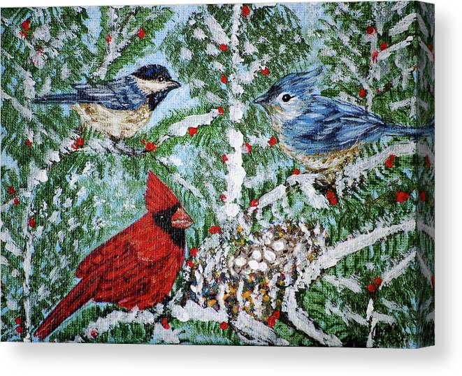 Birds Canvas Print featuring the painting Winter In The Pines by Ann Ingham