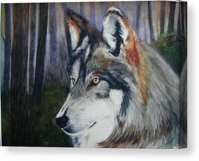 Animal Canvas Print featuring the painting Wolf by Dwight Williams