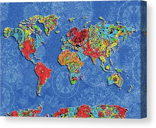 World Map Mandala Blue Canvas Print Canvas Art By Bekim Art
