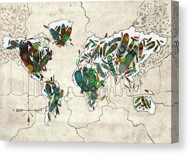 World Map Mandala Feathers Canvas Print Canvas Art By Bekim Art