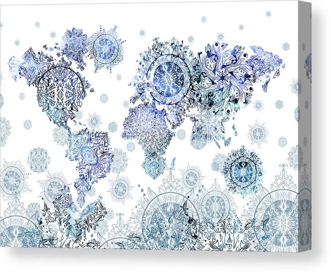 World Map Vintage Mandala White Canvas Print