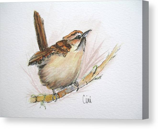 Songbird Canvas Print featuring the painting Wren by Lisa Cini