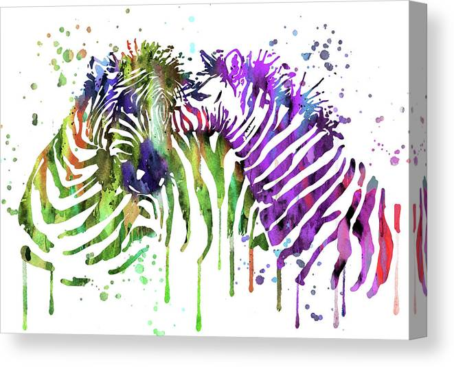 Zebra Canvas Print featuring the painting Zebra by Art Galaxy