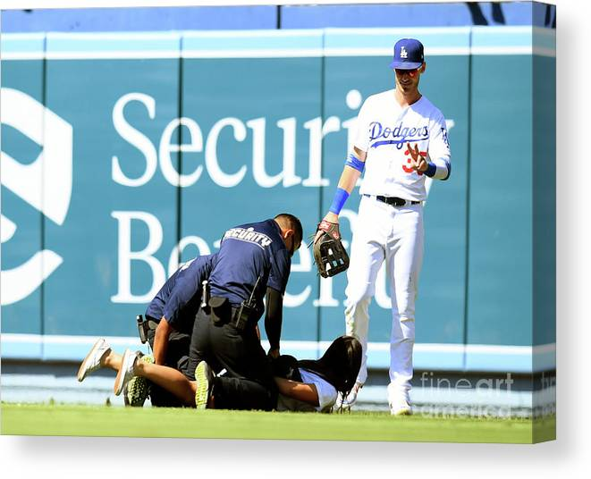People Canvas Print featuring the photograph Colorado Rockies V Los Angeles Dodgers 11 by Harry How