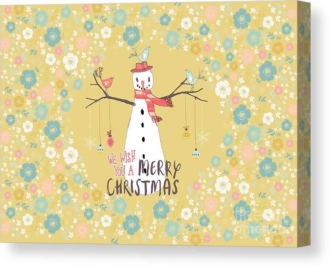 Snowman Canvas Print featuring the mixed media Flower Power Christmas Snowman by Amanda Lakey