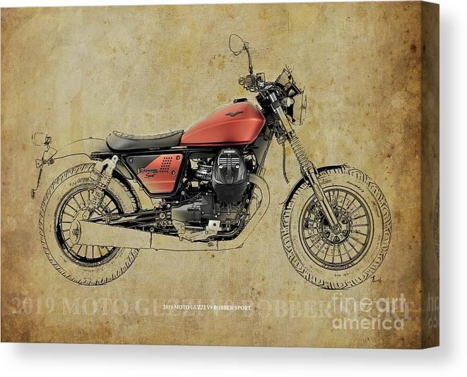 2019 Canvas Print featuring the digital art 2019 Moto Guzzi V9 Bobber Sport Blueprint Vintage Background by Drawspots Illustrations