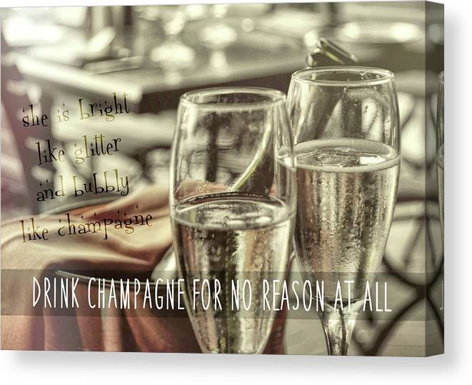 Champagne Canvas Print featuring the photograph All Sparkling Quote by JAMART Photography