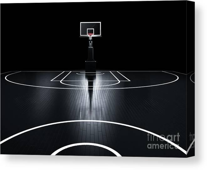 Venue Canvas Print featuring the digital art Basketball Court. Photorealistic 3d by Serg Klyosov
