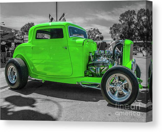 Ford Canvas Print featuring the photograph Bright Green Ford by Tony Baca