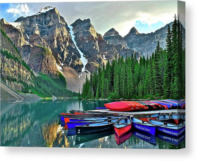 Lake Canvas Print featuring the photograph Mountain Tranquility by Frozen in Time Fine Art Photography