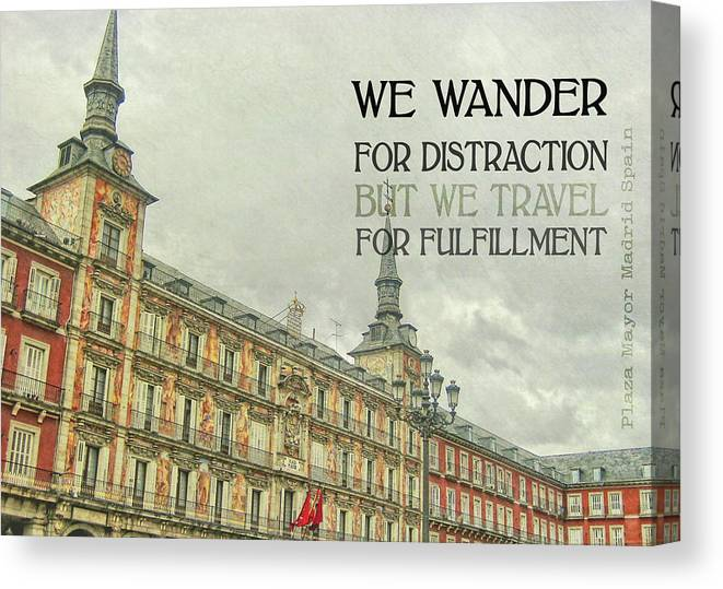 Spain Canvas Print featuring the photograph Plaza Mayor Quote by JAMART Photography