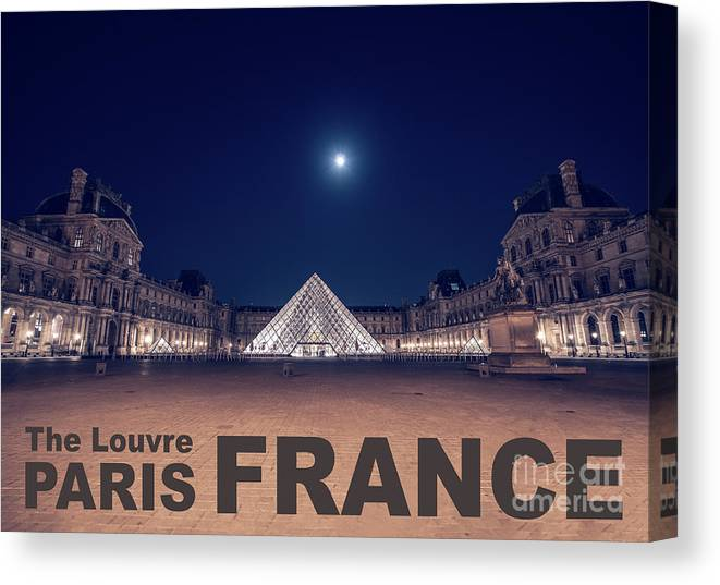 1st Arrondissement Canvas Print featuring the photograph Poster Of The Louvre Museum At Night With Moon Above The Pyrami by PorqueNo Studios