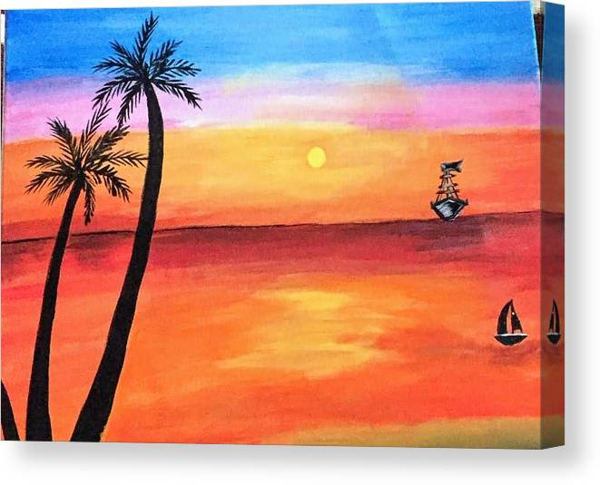 Canvas Canvas Print featuring the painting Scenary by Aswini Moraikat Surendran