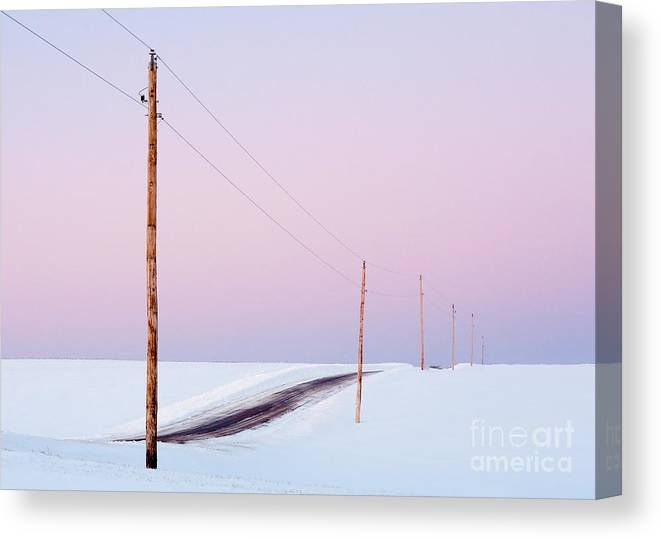 Country Canvas Print featuring the photograph Single Phase Electrical Power Lines by Todd Klassy