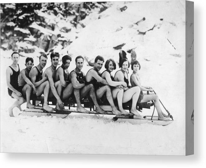 Recreational Pursuit Canvas Print featuring the photograph Sledging by General Photographic Agency
