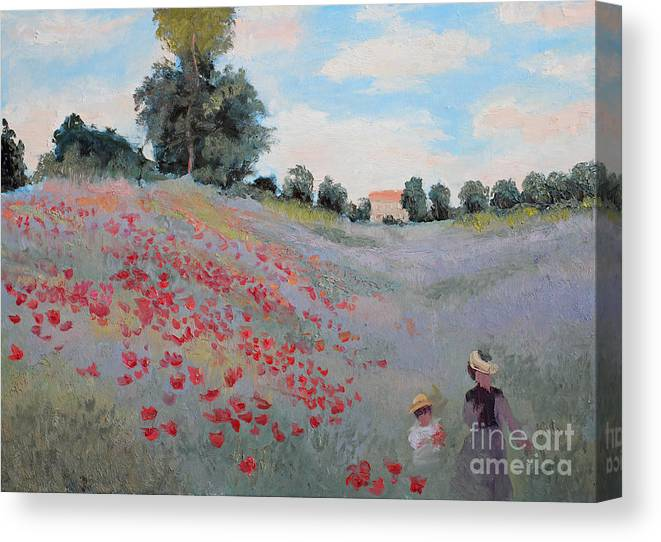 Studio Canvas Print featuring the digital art Summer Landscape Oil Painting by Erissona
