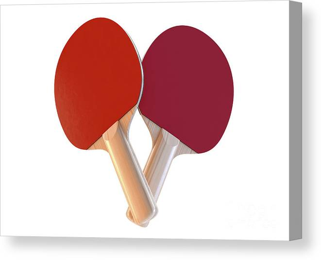 Table Tennis Canvas Print featuring the digital art Set Of Table Tennis Paddles by Allan Swart