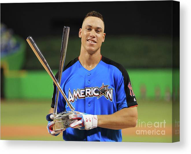 People Canvas Print featuring the photograph Aaron Judge by Mike Ehrmann