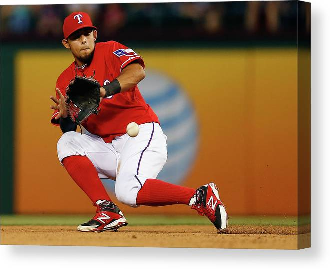 American League Baseball Canvas Print featuring the photograph George Springer And Rougned Odor by Tom Pennington