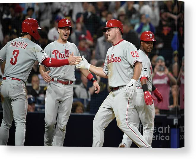 People Canvas Print featuring the photograph Jean Segura, Bryce Harper, And Jay Bruce by Denis Poroy