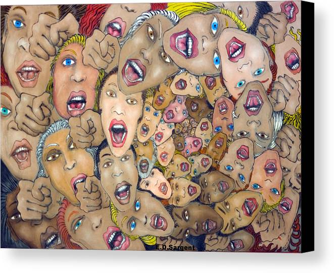 Faces Canvas Print featuring the painting Angst Vortex by Eddie Sargent