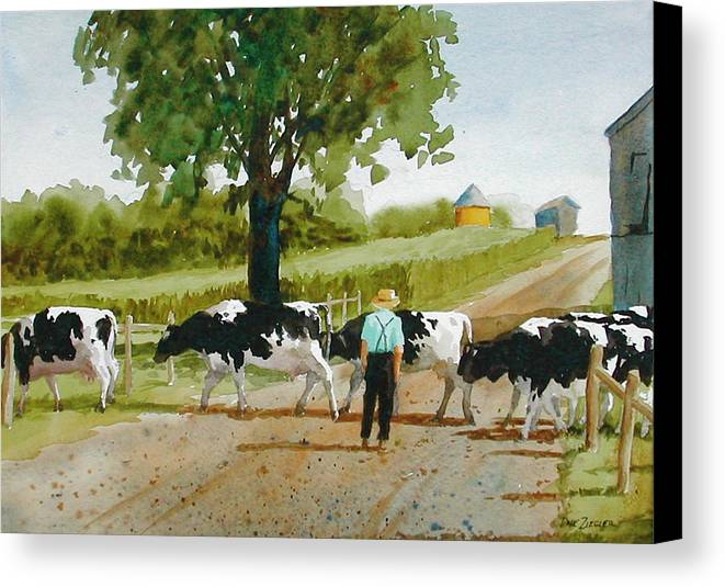Cows Canvas Print featuring the painting Cattle Crossing by Faye Ziegler