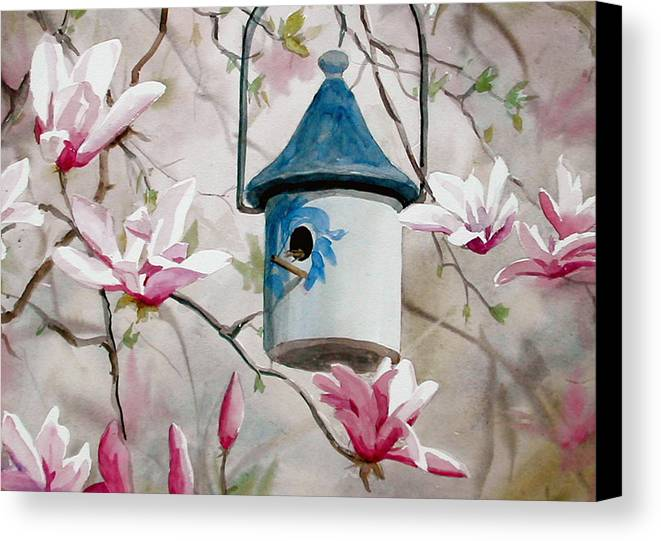 Birdhouse Canvas Print featuring the painting Heavenly Home by Faye Ziegler