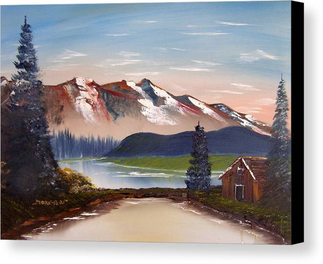 Landscape Canvas Print featuring the painting Lonely Cabin In The Mountains by Sheldon Morgan