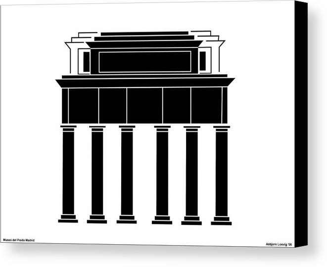 Canvas Print featuring the digital art Museo Del Prado by Asbjorn Lonvig