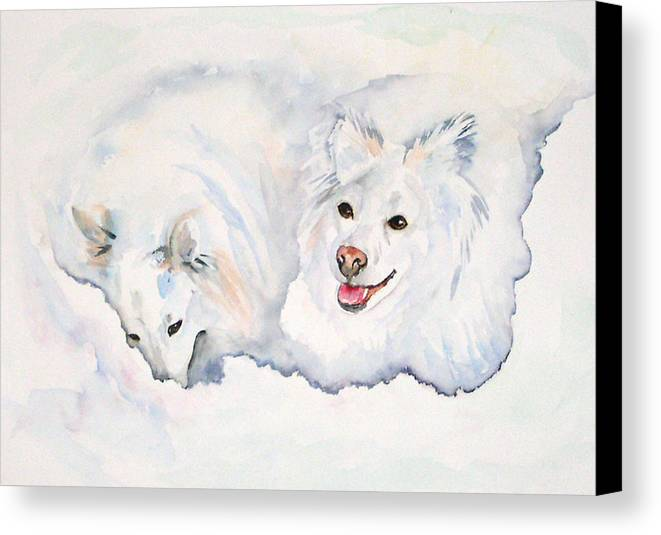 Canine Canvas Print featuring the painting Numa And Amari by Gina Hall