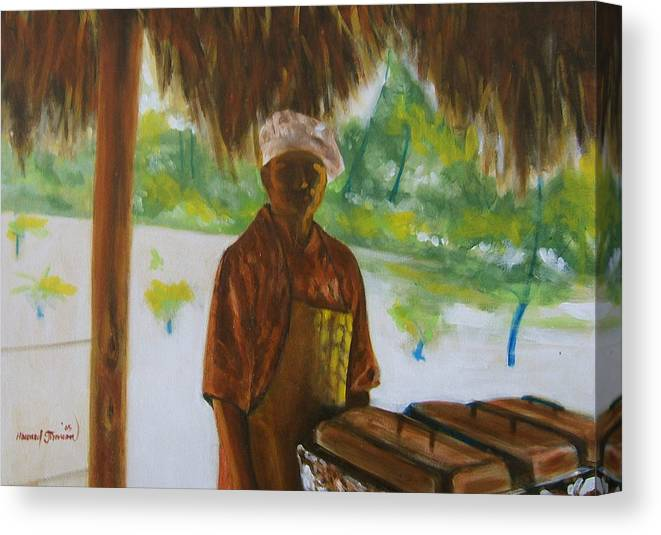 Food Service Worker On Island In The Caribbeans Canvas Print featuring the painting Untitled by Howard Stroman