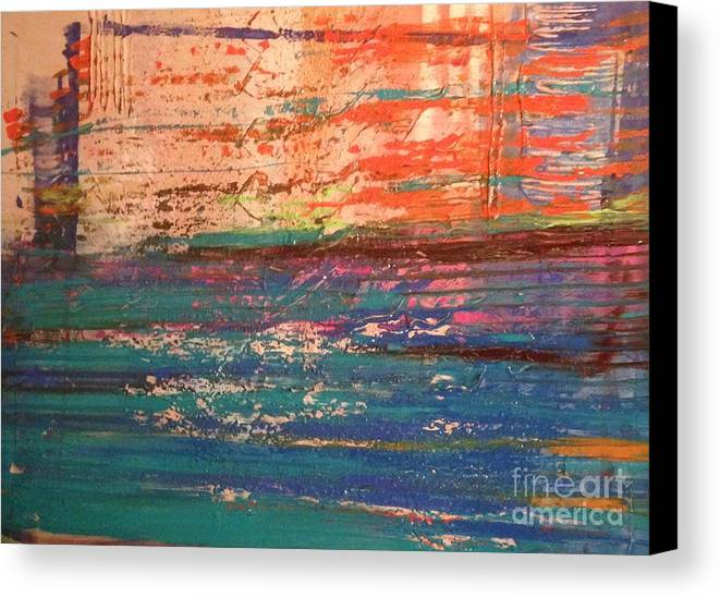 Abstract Canvas Print featuring the painting Colors by Laura Webb