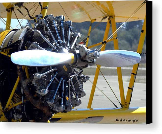 Barbara Snyder Canvas Print featuring the digital art 1943 Boeing Super Stearman by Barbara Snyder