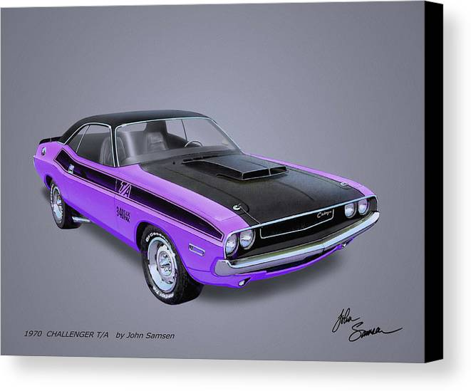 1970 Challenger T A Muscle Car Sketch Rendering Canvas Print