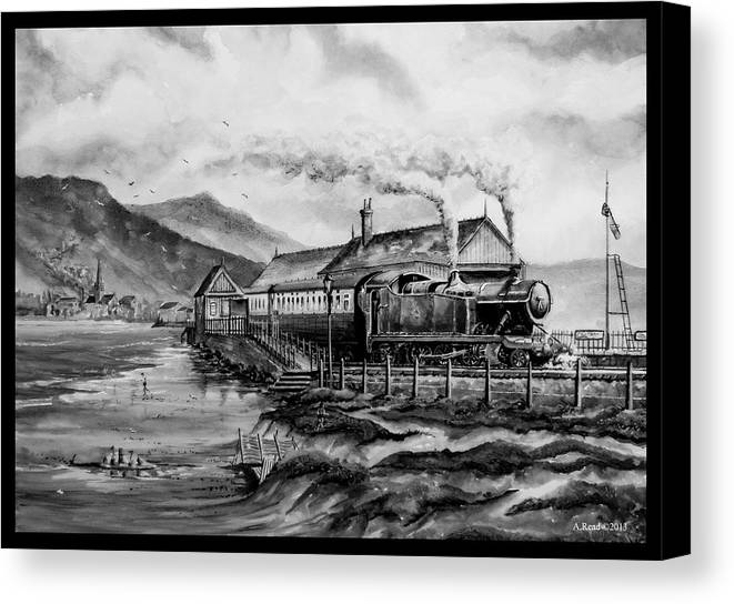 Train Canvas Print featuring the painting A Day At The Seaside by Andrew Read