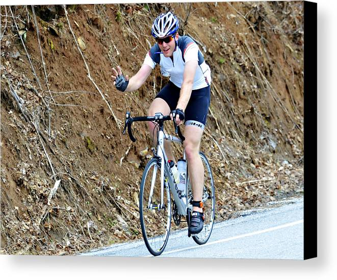 Sport; Ride; Recreation; Person; Miles; Man; Lifestyle; Leisure; Hobby; Healthy; Happy; Fundraiser; Fun; Event; Endurance; Cyclist; Century; Bike; Bicycle; Active; Action; 100; Mountains; Challenge; Terrain; Curves; Road; Endurance Canvas Print featuring the photograph Gran Fondo by Susan Leggett