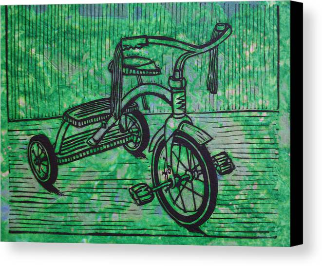 Tricycle Canvas Print featuring the drawing Tricycle by William Cauthern