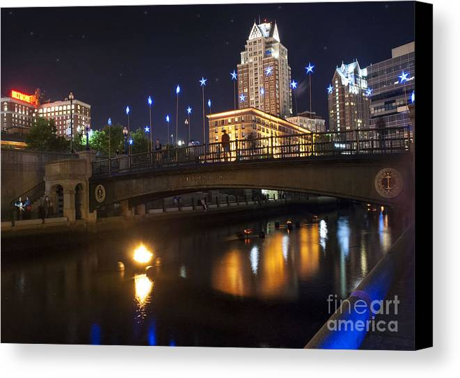2014 Waterfire Providence Canvas Print featuring the photograph Waterfire. Providence Rhode Island by Juli Scalzi