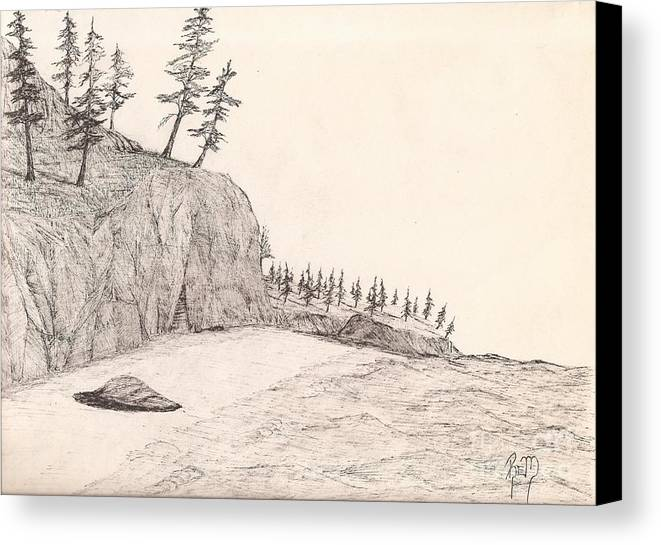 Pen And Ink Canvas Print featuring the drawing A Lakeshore... Sketch by Robert Meszaros