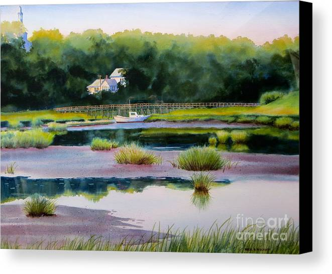 House Canvas Print featuring the painting Across Duck Creek by Karol Wyckoff